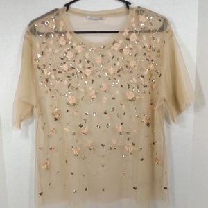 Zara Chiffon w Sequins & Embroidery Blouse 8